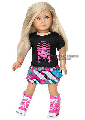 "PLAID SKIRT + SKULL SHIRT +P SNEKR BOOTS clothes fit 18"" American Girl Doll Only"