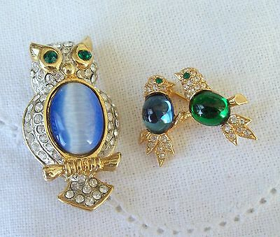 Vintage Jelly Belly Owl & Love Birds Rhinestone Pins