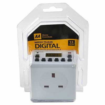 AA Digital Timer Plug Switch 24 Hour 7 Day LCD Programmable Socket UK Mains