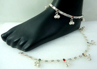 HANDMADE BOLLYWOOD SILVER TONE BELLS CZ ANKLET PAYAL INDIAN TRADITIONAL JEWELRY