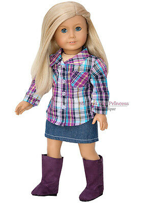 PLAID SHIRT + SKIRT + PURPLE BOOTS outfit Clothes fits American Girl Doll Only