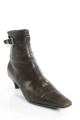 AUTH PRADA Brown Leather Zip Up Pointed Toe Belt Design Ankle Boots Sz 37 7