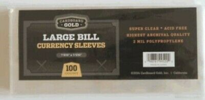 Pack of 100 CBG Older Large US Dollar Bill 2 Mil Soft Poly Currency Sleeves