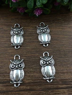 Vintage 6pcs Tibet silver Owl Charm Pendant beaded Jewelry Findings DIY