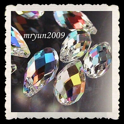 Free 15PCS Design drop Glass TOP Crystal Clear AB 6010 Loose Beads Pendant 12mm