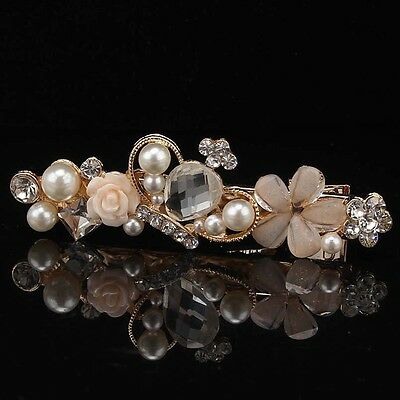 14k Gold Filled Pearl Enamel White Sapphire Barrette Hair Clip Hairpin GP1656