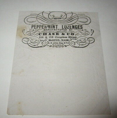 Old c.1870's CHASE & CO. Peppermint Lozenges CANDY Advertising / WRAPPER Boston