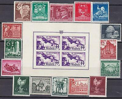 Nazi Germany MNH Lot WWII  3rd Reich Stamps with SS Block!!!