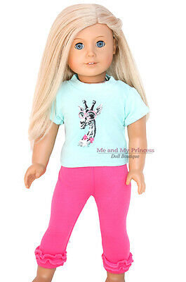 "AQUA GIRAFFE TOP & HOT PINK LEGGINGS - clothes fits 18"" American Girl Doll Only"