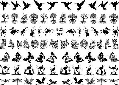 """Black 16mm 5/8"""" Hummingbird to Dragonfly 5""""X7"""" Card Fused Glass Decals 15-CC-459"""