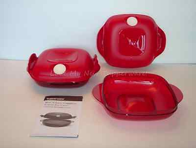 Tupperware Heat N Serve Microwave Square Round 2-Cup Containers Set of 2 Red New