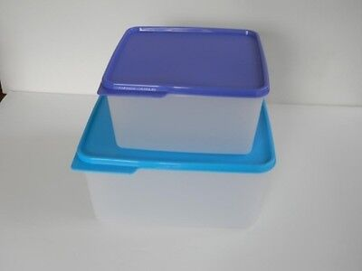 Tupperware Keep Tabs 2pc Large Containers Set Aqua Blue & Cobalt New