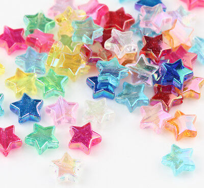 50Pcs Mix Acryl Star Design Delicate Spacer Beads Jewelry Finding DIY 10mm