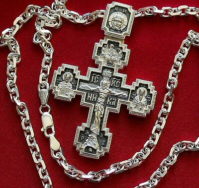 Heavy Mens Necklace Russian Orthodox Crucifix+Anchor Chain. Silver 925, 48g Set