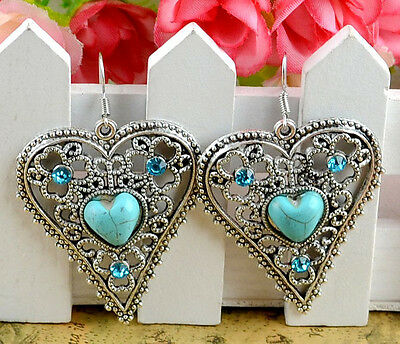 NEW 1Pairs Antique Silver Plated Assorted Dangle Turquoise Earrings  H-154