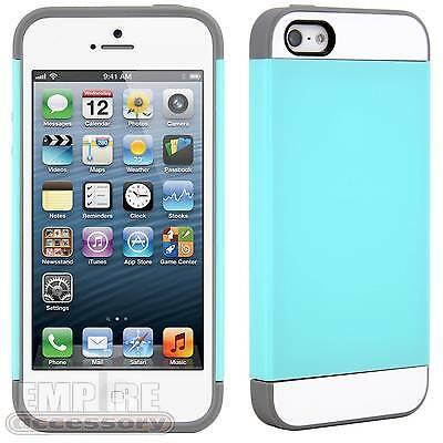 For iPhone 5 5S Vivid Hybrid TPU Hard Case Cover Bumper Turquoise Teal Gray
