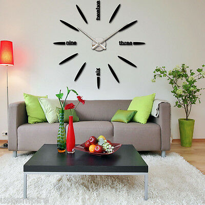 Large Wall Clock 3D Mirror Sticker Big Watch Home Decoration Unique Gift DIY