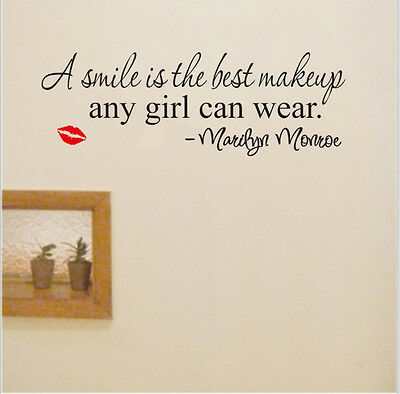 Smile is Makeup Marilyn Monroe Quote Art Vinyl Removable Wall Sticker Home Decor