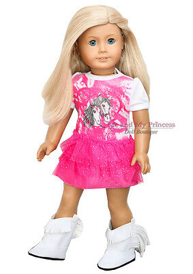 """SPARKLE HORSE COWGIRL DRESS  & BOOTS clothes fits 18"""" American Girl Doll Only"""