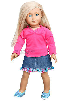 H PINK TOP + DENIM SKIRT + SHIMMER SHOES clothes fits American Girl Doll Only