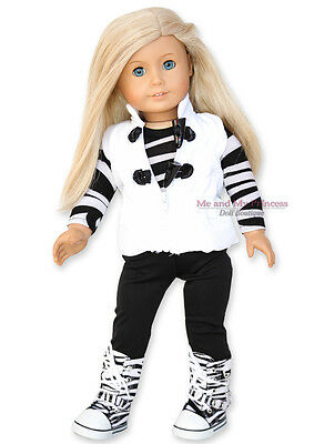 VEST + LEGGINGS + TOP +  ZEBRA BOOTS Outfit clothes fit American Girl Doll Only