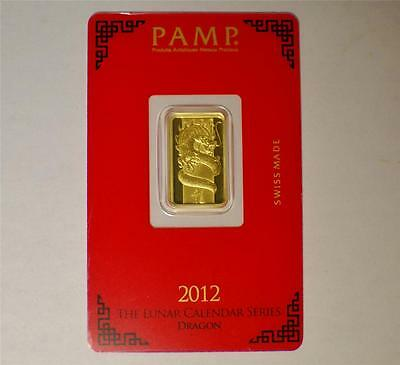 5 gram Pamp Suisse Year of the Dragon .9999 Gold Bar Sealed in Assay Card #A197
