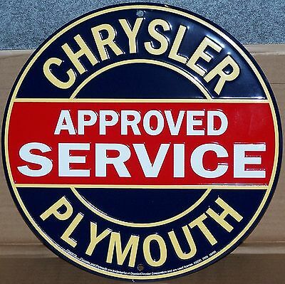 Chrysler Sign Plymouth Approved Service Mopar Round Metal Advertising Tin New