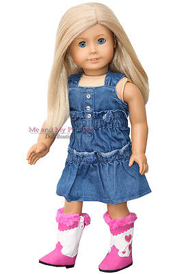 "DENIM JUMPER DRESS + HEART COWBOY BOOTS clothes fits 18"" American Girl Doll Only"