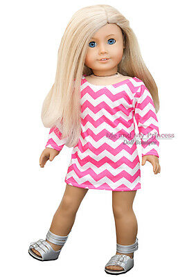 "PINK CHEVRON PRINT DRESS + SILVER SHOES clothes fits 18"" American Girl Doll Only"