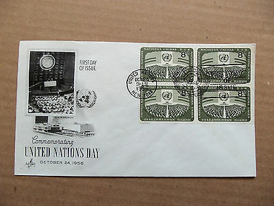United Nations 1956 ArtCraft FDC United Nations Day Block of 4 8 cents stamps