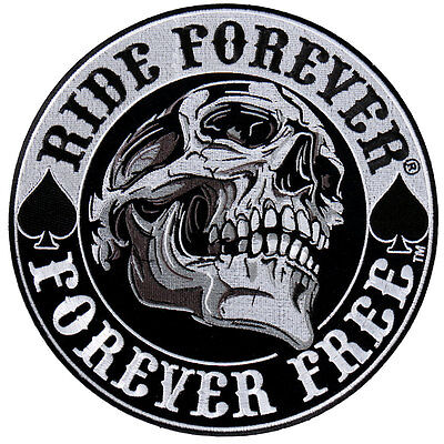 Spade Skull EMBROIDERED 3.5 INCH IRON ON MC BIKER  PATCH