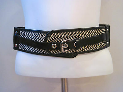 NEW LADIES STYLE & CO BELT BLACK/NATURAL STRETCH SIZE M/L