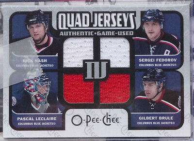 2007-08 O-Pee-Chee OPC Materials Quad Game Jersey Rick Nash / Sergei Fedorov +++