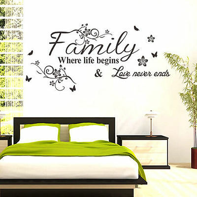 Family Where Life Begins Quote Wall Sticker Words Decal Vinyl Art Decor Mural