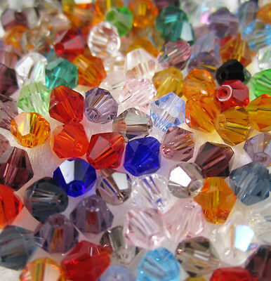 Jewelry making 100pcs 4mm #5301 colorful Bicone glass crystal beads MIX NEW