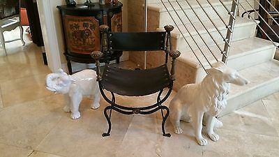 Vintage Life Size Italian Decorative High Fired Glazed White Saluki Dog