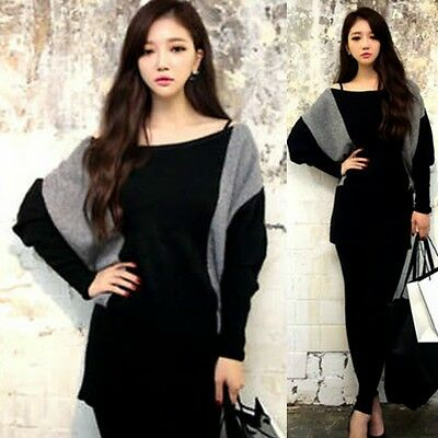 Loose Color Block Boat Neck Stretchy Long Sleeve Women's Knitwear Knitted Top
