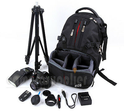 DSLR Digital Camera Backpack Rucksack Bag Case For Canon Nikon Sony+RainCover