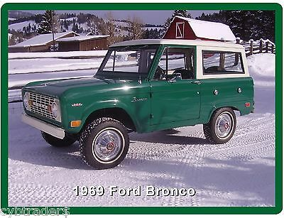 1969 Ford Bronco  Refrigerator / Tool Box Magnet Gift Card Insert
