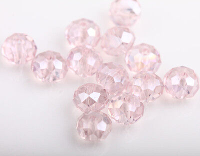 New 100Pcs Pink AB Acrylic Charms Loose Spacer Beads Jewelry Making DIY 6mm