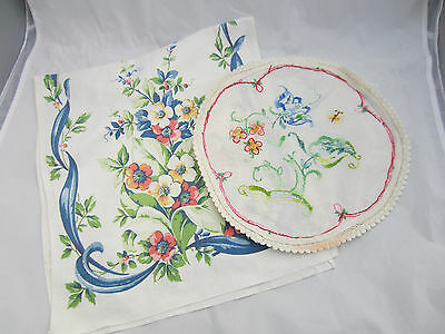 vintage blue floral print runner and large round embroidered doily cottage chic