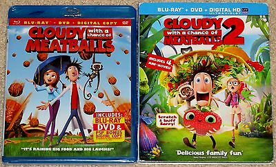 Kid Blu-ray DVD Lot - Cloudy With a Chance of Meatballs 1 & 2 (1 New, 1 Used)