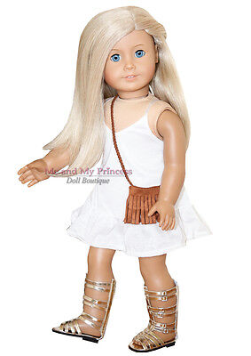 SUMMER DRESS + PURSE + GLADIATOR SHOE outfit Clothes fit American Girl Doll Only
