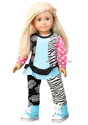"ZEBRA DOT TOP + LEGGINGS + SNEAKERS - clothes fits 18"" American Girl Doll Only"