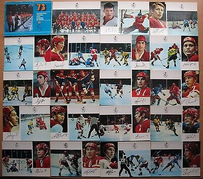 25 POSTCARD SET PC Russian Post Card Hockey Player 73 Sport Champion Ice world
