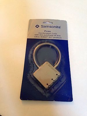 SAMSONITE Combination Lock Silver Metal Cable Luggage/Travel Safety Security NEW