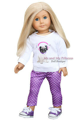 PUG TOP + DOT LEGGINGS + SNEAKERS outfit Clothes fits American Girl Doll Only