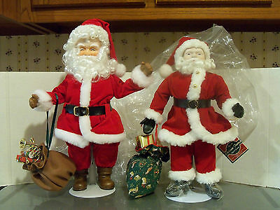 VINTAGE PORCELAIN SANTA DOLL AND STAND TOY SACK CHRISTMAS HOLIDAY LOT OF 2 NEW!!