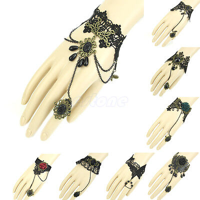 New Gothic Women Girl Jewelry Black Cameo Lace Flower Bracelet Chain Ring Lolita