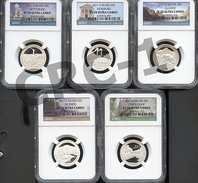2011 S SILVER QUARTER 5pc SET NGC PF70 ULTRA CAMEO